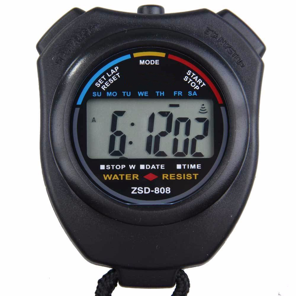 LCD Chronograph Digital Timer Stopwatch Sport Counter Odometer Watch Alarm   High Quality Watches #240717