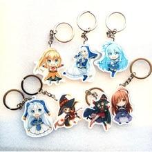 7PCS/SET Anime Keychain kono subarashii sekai ni shukufuku wo KonoSuba Luna Satou Kazuma Keychain Portachiavi Pendant Collect