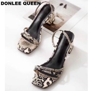 Image 5 - Donlee sandálias de rainha, envoltório para mulheres, salto médio, pele de cobra, chinelos vestido sapato
