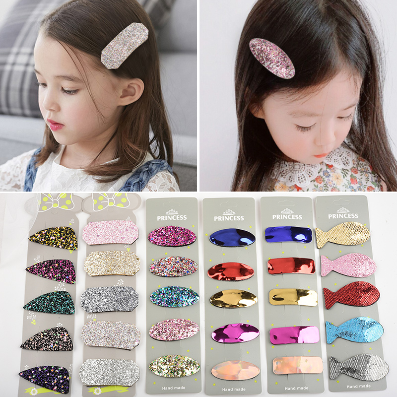 5pcs Headwear Set Girls Hair Accessories Geometric Hairpins Children Headdress Solid Color Oval Triangle PU Sequins Hair Grip