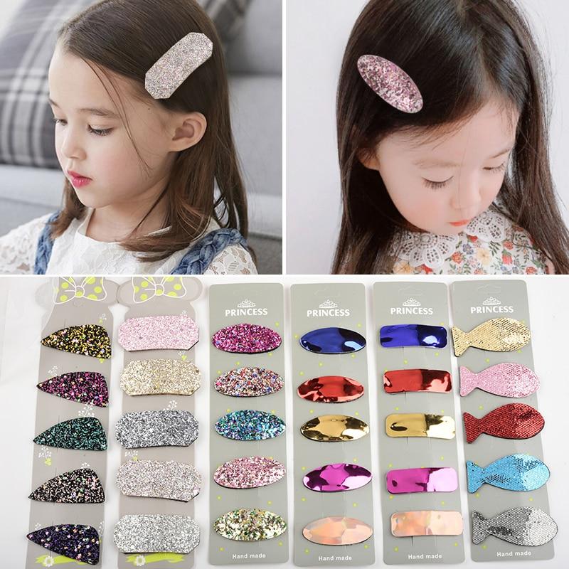5pcs   Headwear   Set Girls Hair Accessories Geometric Hairpins Children Headdress Solid Color Oval Triangle PU Sequins Hair Grip