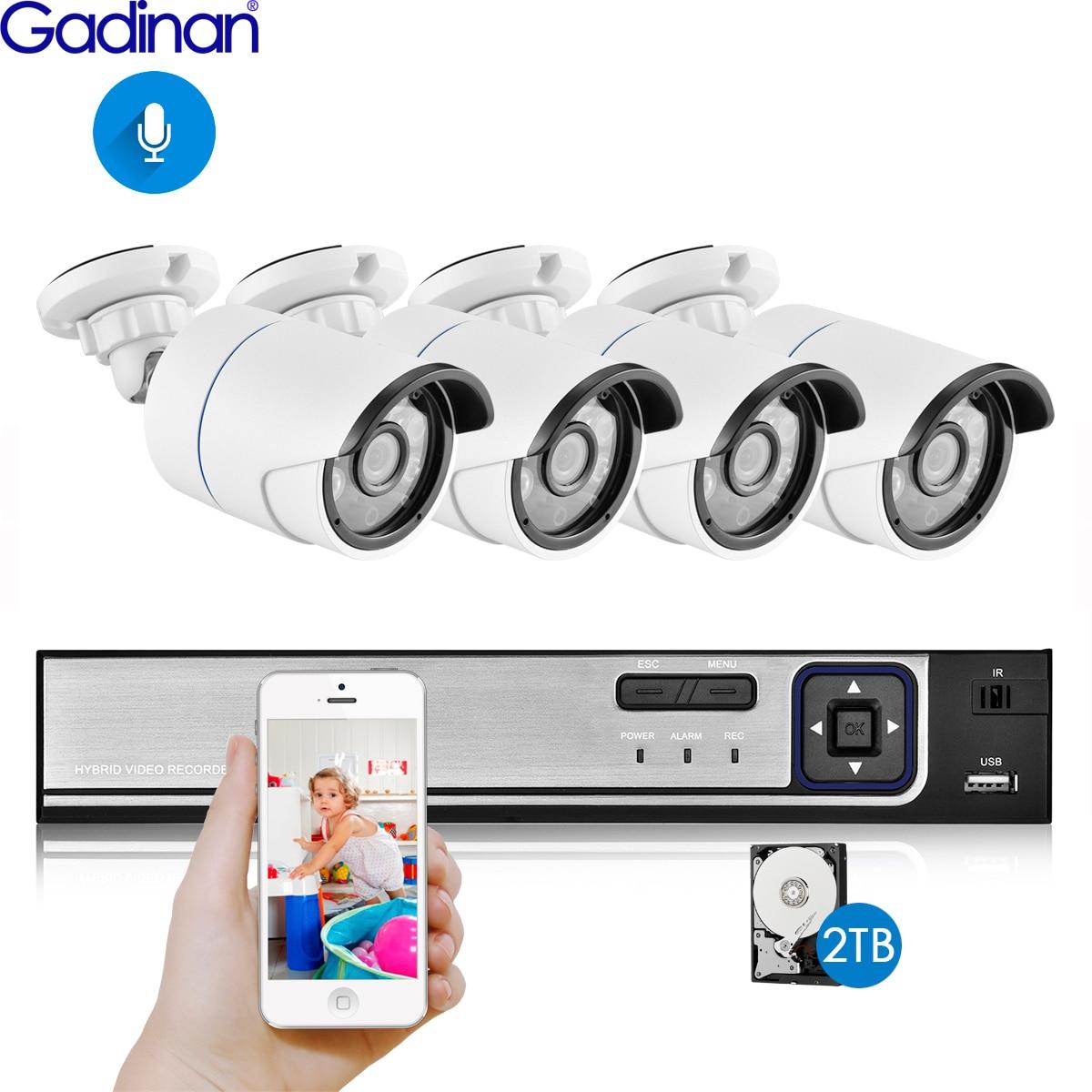 Gadina 4CH 5MP 4MP 1080P POE Security Camera System Kit Audio Record IP Camera IR Outdoor Bullet CCTV Video Surveillance NVR Set Surveillance System     - title=