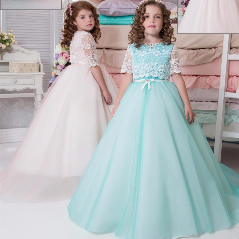 6728e1747bac5 WF807 Free Shipping Mint Lace Ball Gown Flower Girl Dresses Child ...