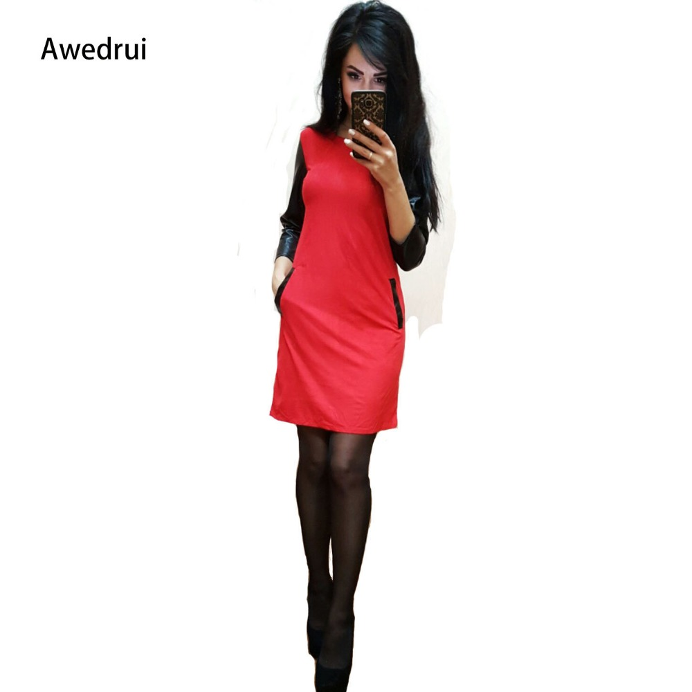 Awedrui Women Autumn Casual Black Red Mini Party Dresses