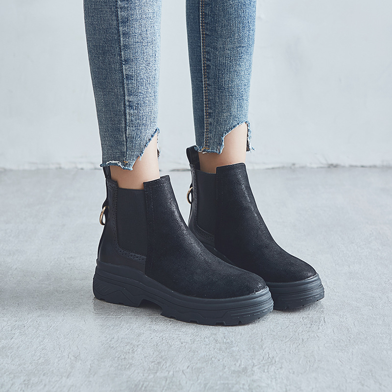 Botas Noir Chelsea Mode Nouveau Jookrrix Automne Bottes Mujer Chaussures Cuir Pu Marque Plate Femmes Femelle Chaussure Dame En forme 5HUqzUx