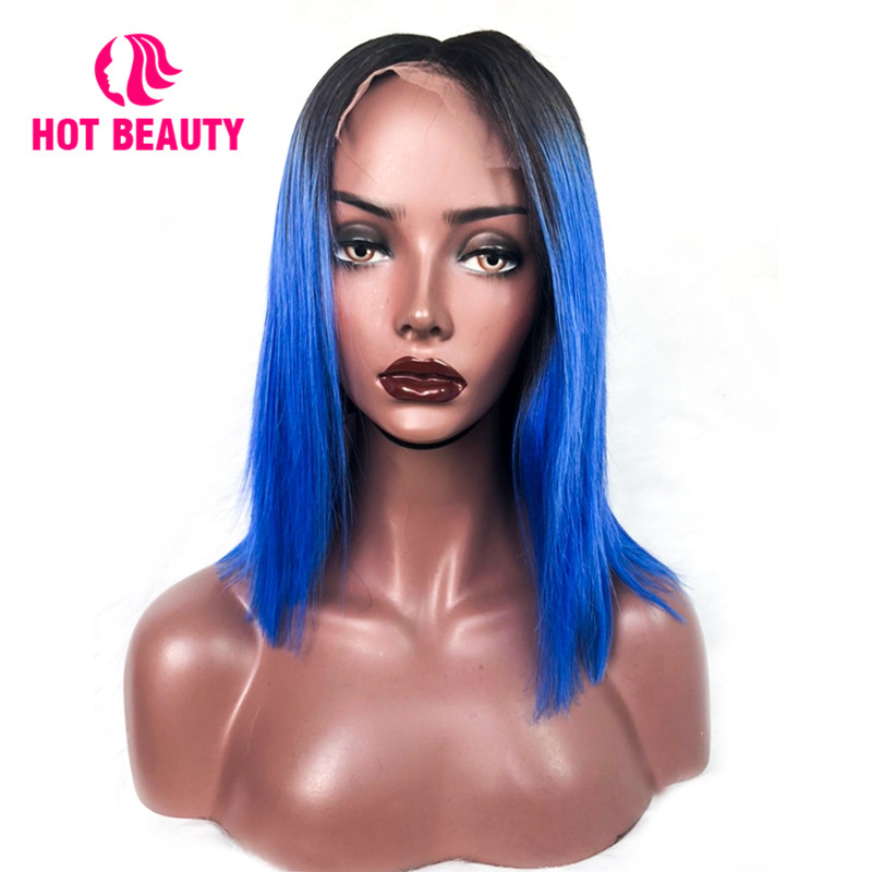 Hot Beauty Hair Short Human Hair Wigs T1B/Blue Color Lace Front Wigs Straight Brazilian 100% Remy Hair Middle Part Wig for Women