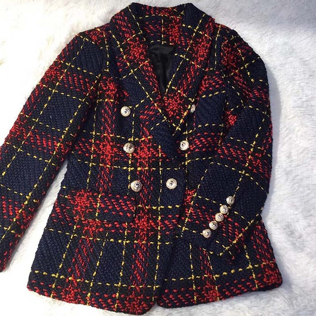 Autumn Winter 2018 Runway Designer Women Red Plaid Jacket Coat Double Breasted Lion Metal Buttons Tweed Female Ladies Clothes