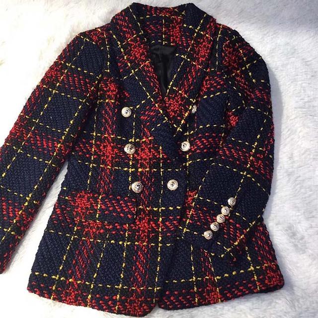 Designer Women Red Plaid Tweed Jacket