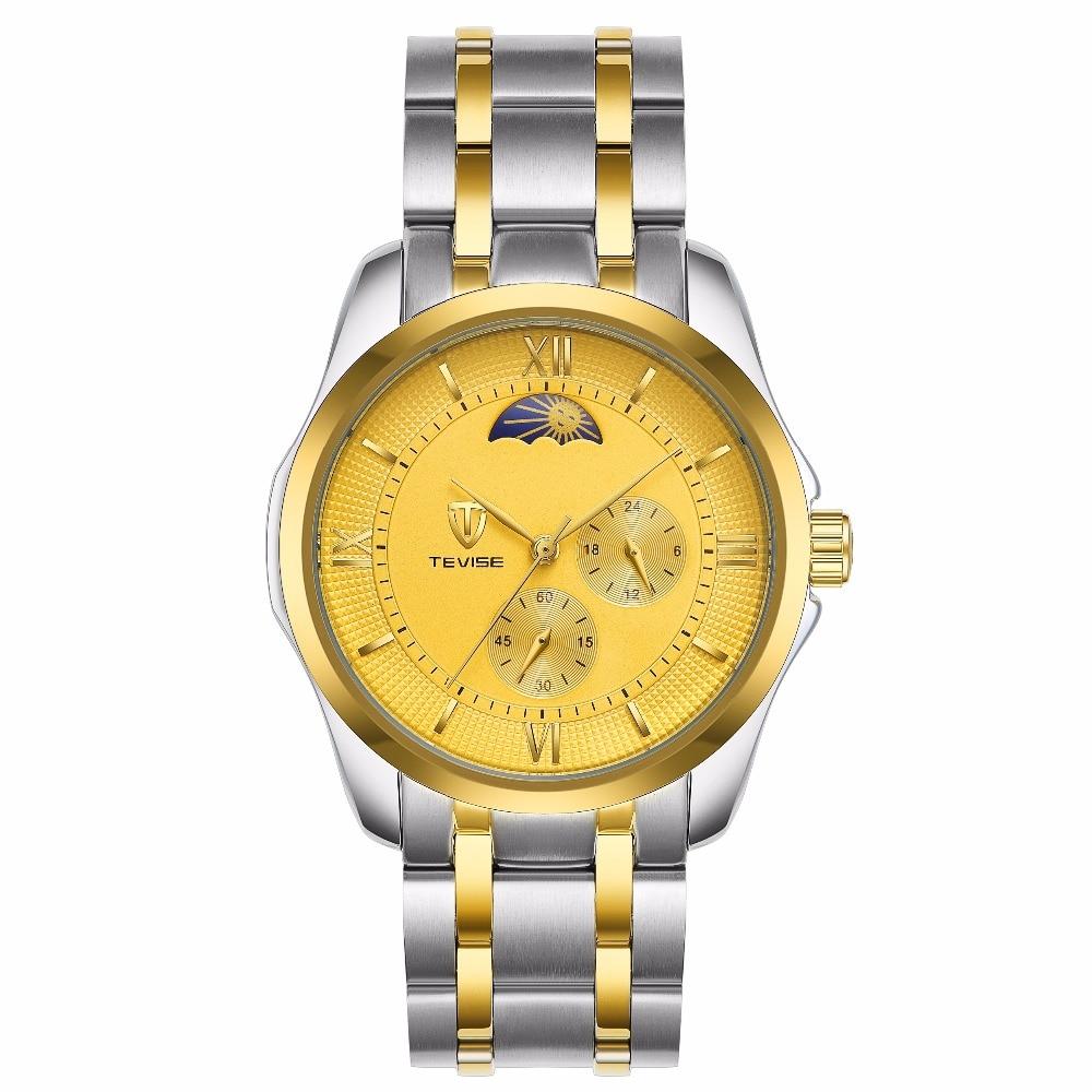 цена TEVISE Mens Watches Automatic Mechanical Watch Men Steel Business Waterproof Watches онлайн в 2017 году