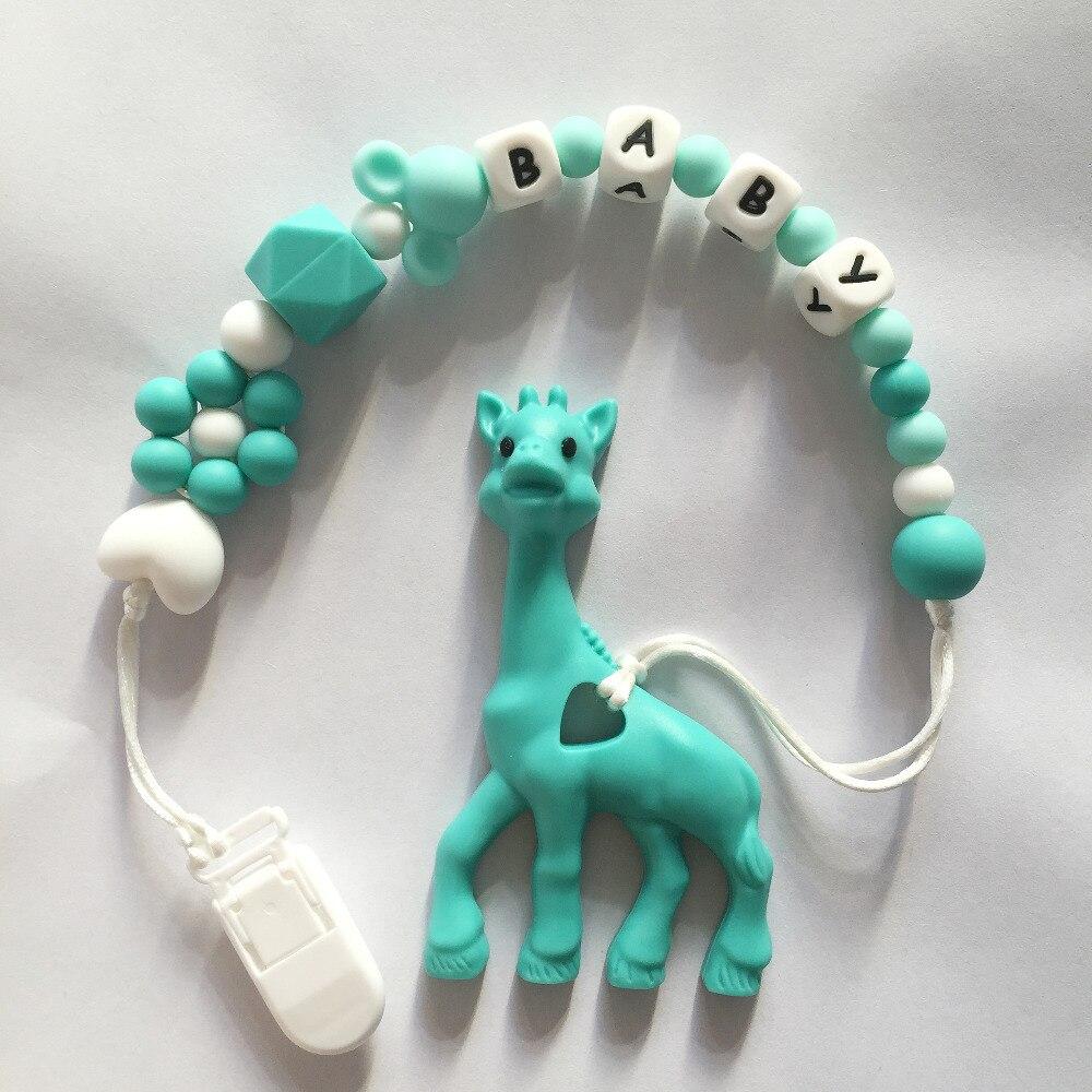 Personnalisé Nom Silicone Dentition Sucette Clips avec Girafe dentition Silicone Sucette Chaîne Collier pour Bébé Jouets À Mâcher