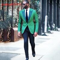 2018 latest coat pant designs green men suit for casual stage peaked lapel custom blazer classic jacket slim fit tuxedo 2 piece