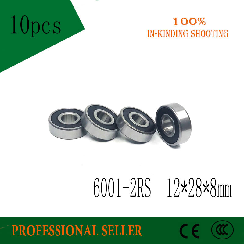 Free Shipping 10pcs High Quality 6001-2RS Ball Bearings 6001 2RS 12x28x8 Mm Deep Groove Ball Bearing 6001RS