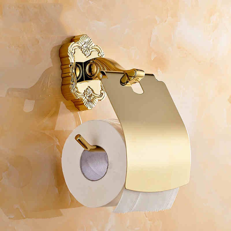 ФОТО 2015 European archaize golden plated paper holder toilet roll paper dispenser toilet