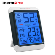 Thermopro TP55 Digitale Thermometer Hygrometer Indoor Outdoor Thermometer met Touchscreen en Achtergrondverlichting Temperatuur Vochtigheid