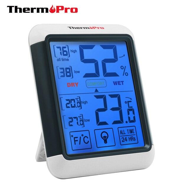 Thermopro TP55 デジタル温度計湿度計屋内屋外の温度計タッチスクリーンとバックライト温度湿度
