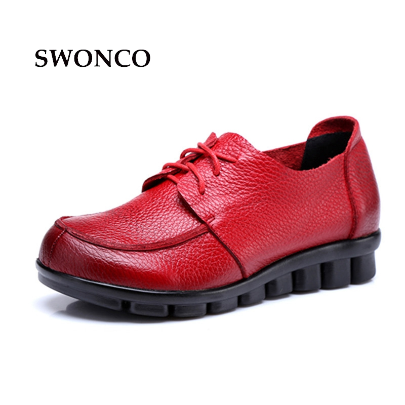 SWONCO Women's Flats Shoe Cow Leather Lace Up Female Shoes Flat Women Shoes Genuine Leather Rubber Sole Non-slip Woman Shoe french steel toe shoe covers protector visitor overshoes rubber sole non slip shoe woman safety work shoes for high heel