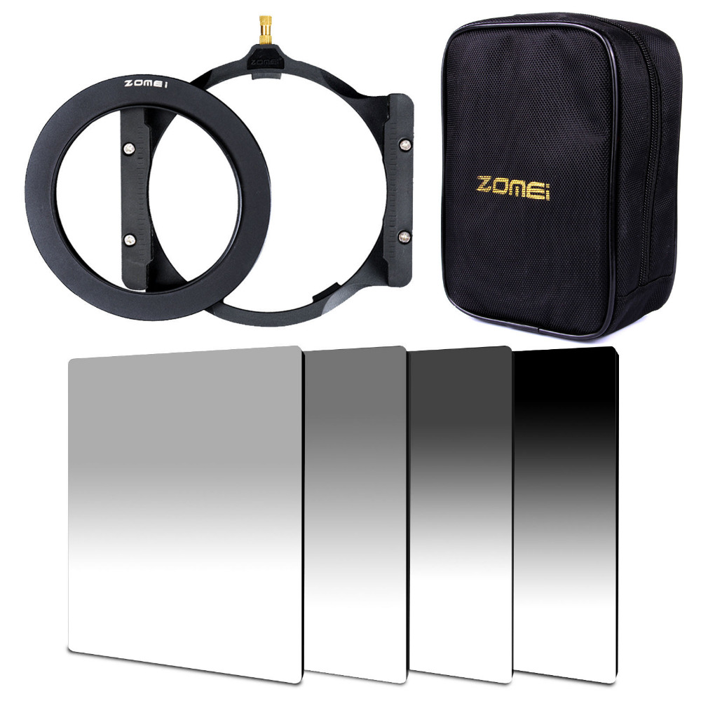Zomei 150*100mm G.ND ND2+ND4+ND8+ND16 Neutral Density square filter+filter holder+16 slot case+67/72/77/82/86mm adapter ringZomei 150*100mm G.ND ND2+ND4+ND8+ND16 Neutral Density square filter+filter holder+16 slot case+67/72/77/82/86mm adapter ring