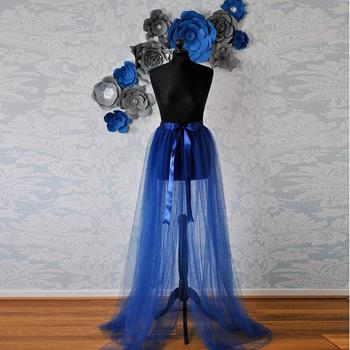 Imagen Real azul Real de tul desmontable tren cinta Sash Bow ver a través Sexy sobre envoltura de tul faldas mujeres Tutu falda