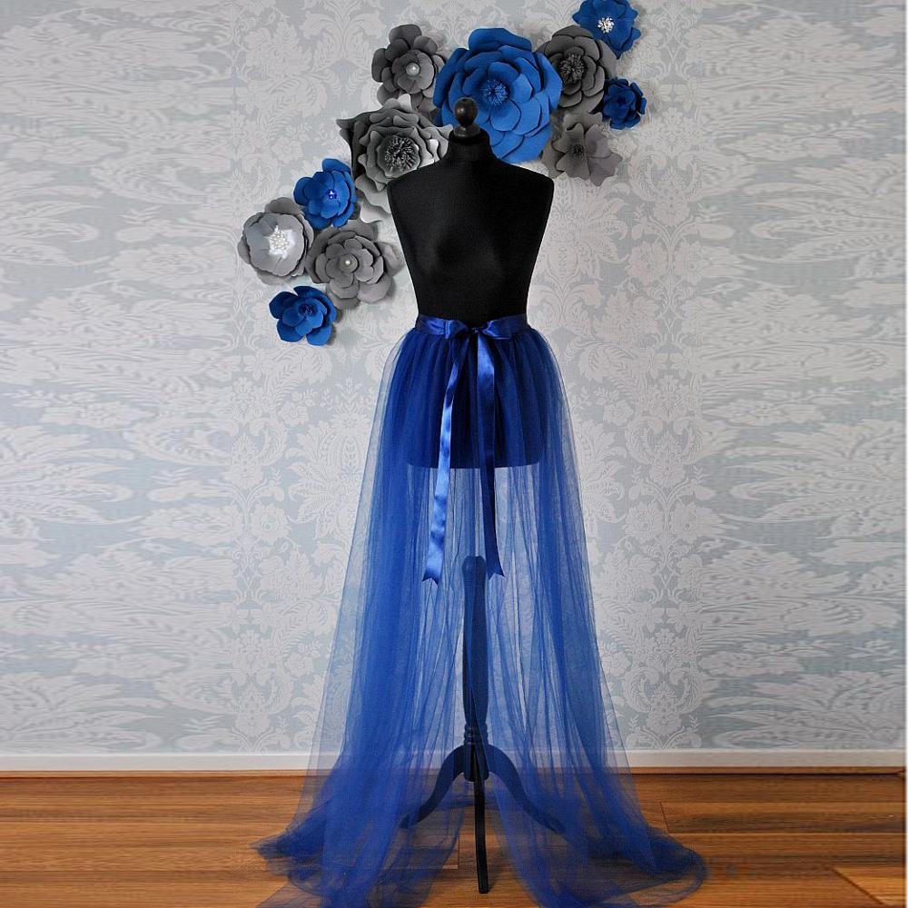 Real Image Royal Blue Tulle Detachable Train Ribbon Sash Bow See Thru Sexy Over Wrap Tulle Skirts Women Tutu Skirt