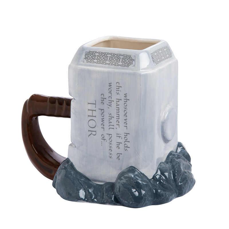 Marvel Thor tazze di caffè tazze da tè e tazze martello mjolnir permium scolpito marchio di grande capacità in ceramica drinkware