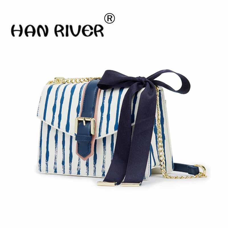 Spring and summer new women's bag navy stripe fashion small package han version of the one-shoulder bag cross-shoulder bag sailor moon the same type bag fashion small pure and fresh and candy color one shoulder inclined shoulder bag
