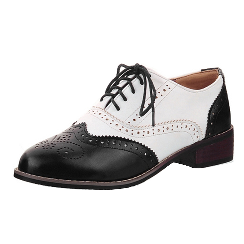 Lucyever Leisure round toe handmade leather shoes woman vintage patchwork carved oxford shoes for women plus size 34-43 цена