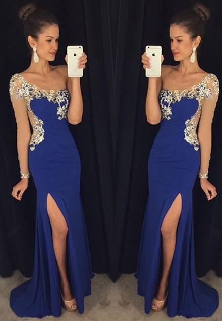 Elegant-One-Shoulder-Long-Sleeve-Prom-Dress-2016-Black-Formal-Evening-Gowns-Custom-Made-Crystal-Party