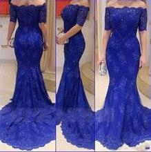vestido de madrinha Simple Royal Blue Mermaid Half Sleeve  evening dress elegant prom gown 2019 mother of the bride dresses