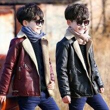 цены на Boys Winter Leather Jacket Kids Furry Coat Thickened PU Leisure Jackets Boy Fashion Faux fur coats Turn-collar boys jacket  в интернет-магазинах