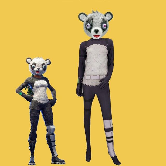 Battle royale panda team leader mask with cuddle team leader panda costumes adult latex masks - Panda team leader costume ...