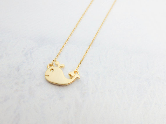 Gold Whale Necklace Tiny Gold necklace Tiny Charm necklace Ocean necklace Cute necklace Sister Gift mom Birthday Gift best friend Birthday.jpg