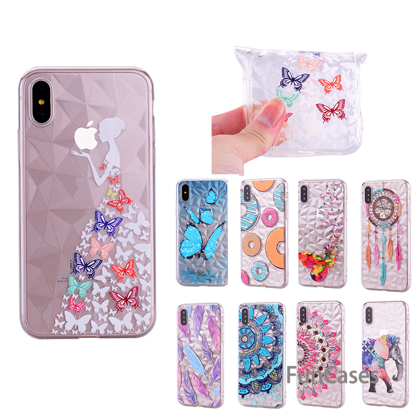 HEMASOLY Case For iPhone X Case Transparent For iphone 6 6S 7 8 Plus  Silicone Case Ultra Thin Diamond Rhombus Pattern Cover 7708fc19405e2