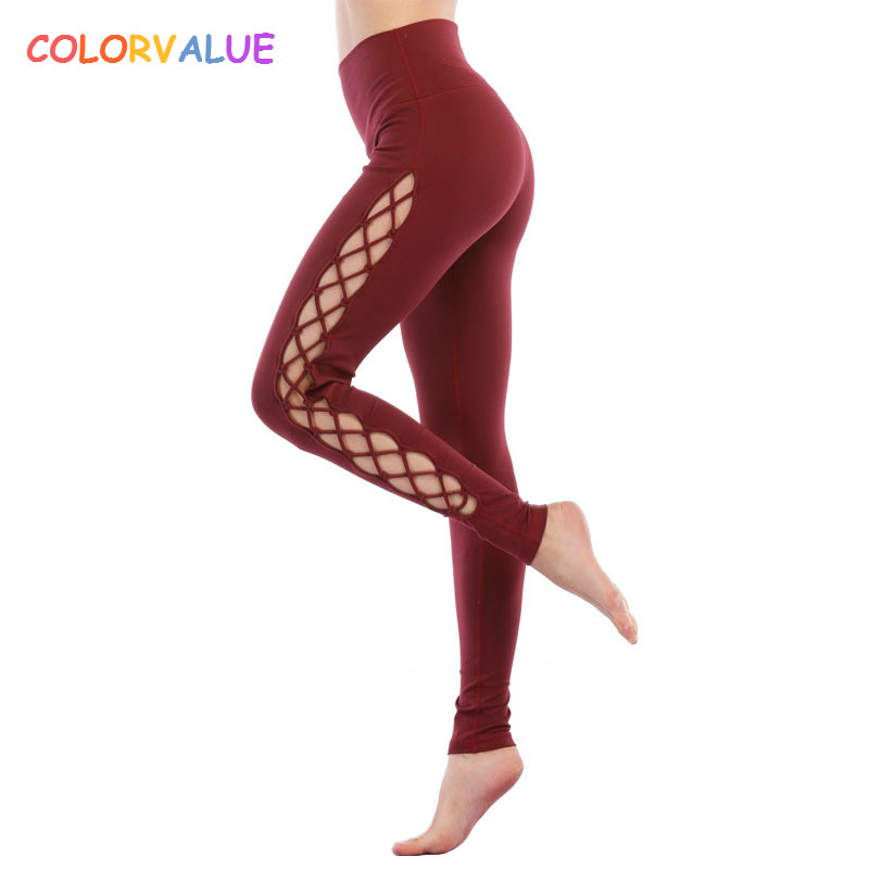 Colorvalue Side Crisscross Yoga Leggings Women High Waist Nylon Sport Gym Tights Anti-sweat Top Quality Fitness Workout Leggings side striped leggings