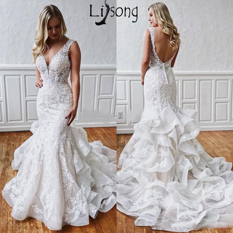 Sexy Mermaid Lace Backless Wedding Dresses 2019 Deep V Neck Beach Bridal Gowns Ruffled Skirt Plus Size Boho Vestidos De Novia