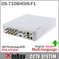 HIK Turbo HD DVR DS-7108HGHI-F1 Apoiar tanto HD-TVI analógicas e Câmeras AHD 720 P 8CH DVR Plug & Play XDVR