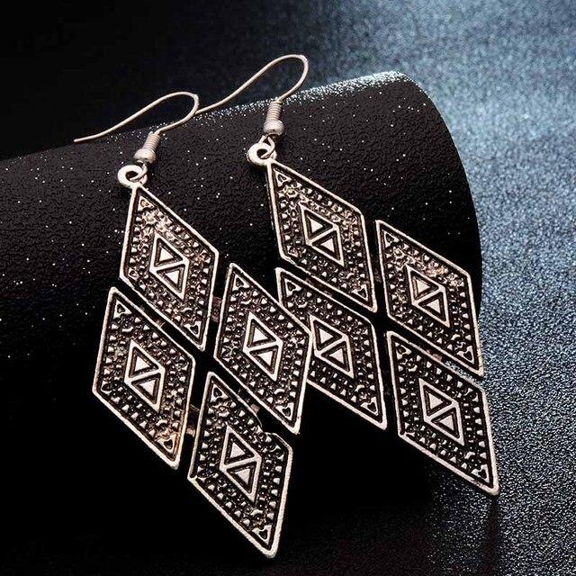 SHUANGR Fashion Hot Gold-color Metal Tassel Dangle Earrings Oversize Pendientes Long Earrings For Women Ethnic Indian Jewelry 4