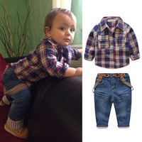 New Arrival 3pcs Kids Boys Clothing Set Car Print T Shirt Tops Plaid Coat Denim Pants