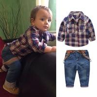 New Arrival 3pcs Kids Boys Clothing Set Car Print T Shirt Tops Plaid Coat Denim Pants