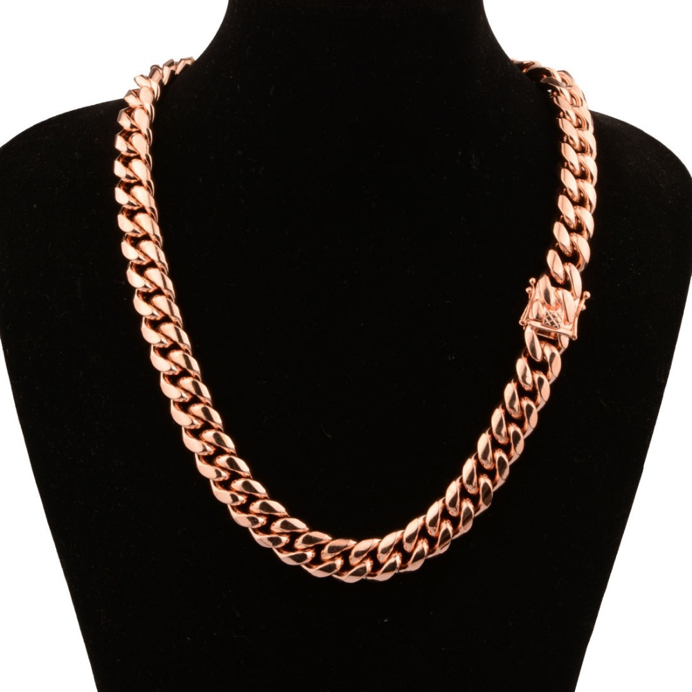 Top Design 316L Stainless Steel Rose Gold Jewelry Miami Cuban Curb Link Chain Men Women Necklace Or Bracelet Customized 7-40inch