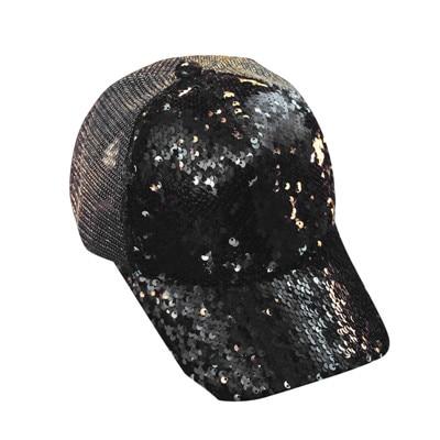 Dropwow 2018 Glitter Ponytail Baseball Cap Messy Bun Dad Hats For ... faf43105b172