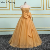 Peach Tulle Ball Gown Quinceanera Dresses 2016 New Real Image Spaghetti Sequins Bow Sweep Train Lace