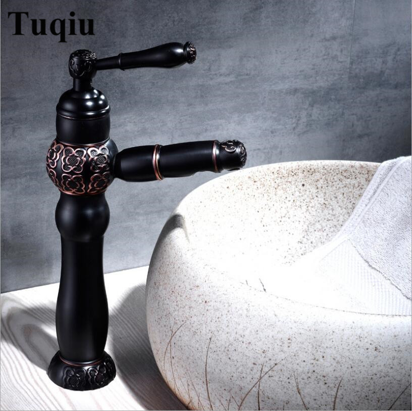 Carved Pull Out Basin Faucet Black Oil Brushed/Antique Brass Bathroom Faucet Single Hole Cold and Hot Basin Crane Water tap Carved Pull Out Basin Faucet Black Oil Brushed/Antique Brass Bathroom Faucet Single Hole Cold and Hot Basin Crane Water tap