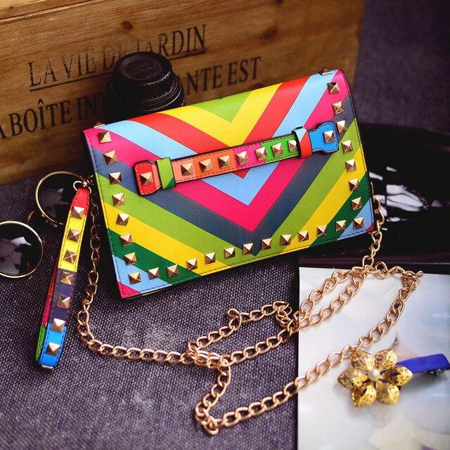 women day clutch rainbow bag handbag spring summer 2015 stripe