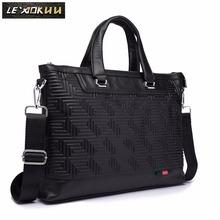 "Men Genuine Leather Black Office Maletas Business Briefcase 15.6"" Laptop Case Attache Portfolio Bag Maletin Messenger Bag 7600"