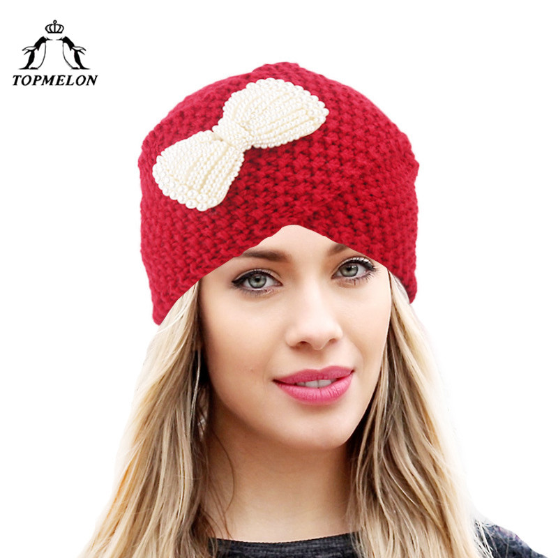 TOPMELON Sweet Hat female Cross Turban for Women Girls Wrap Knitting Winter Cap   Skullies     Beanies   Grey Red Coffee White Navy