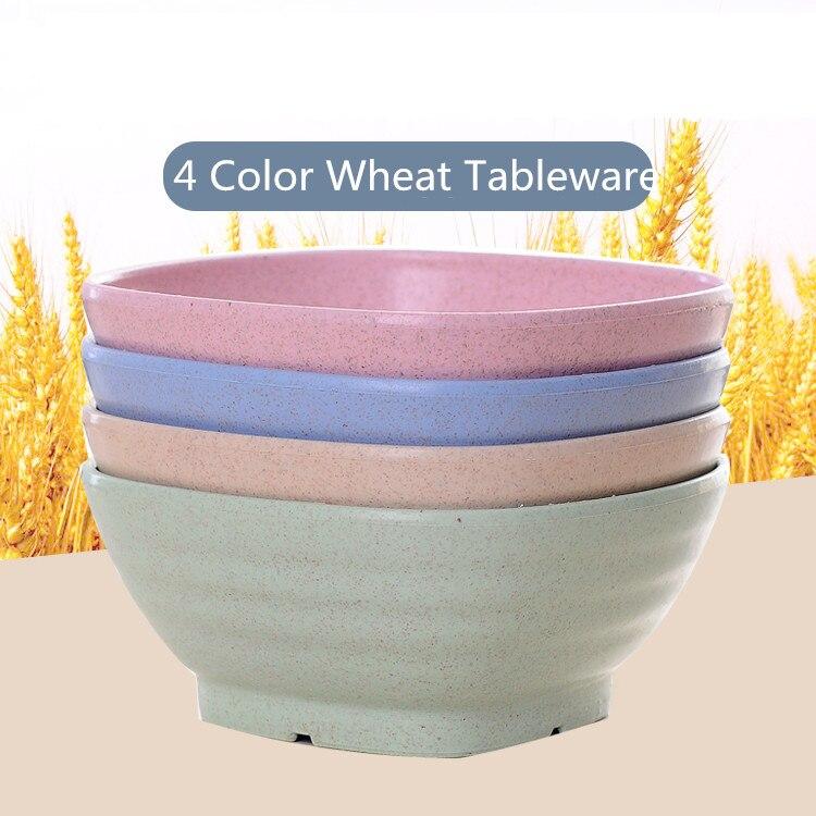Tazón de mesa de trigo de 4 colores plato de alimentación sólido para niños plato de comida de Camping vajilla de alimentación para niños tazones de helado de postre