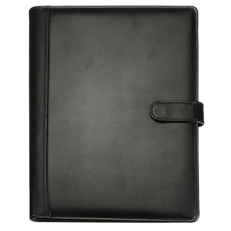 Black A4 Executive Conference Folder Portfolio PU Leather Document Organiser with Calculator kicute executive conference folder pu portfolio zipped leather look folder document organiser document holder office supplies