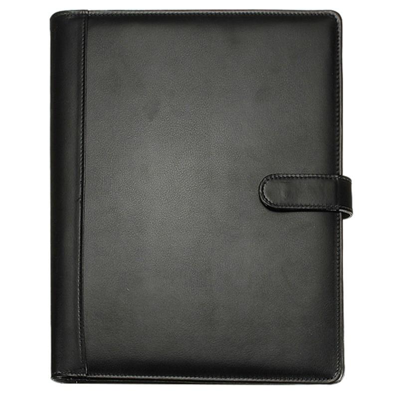 Black A4 Executive Conference Folder Portfolio PU Leather Document Organiser With Calculator