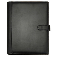 Black A4 Executive Conference Folder Portfolio PU Leather Document Organiser