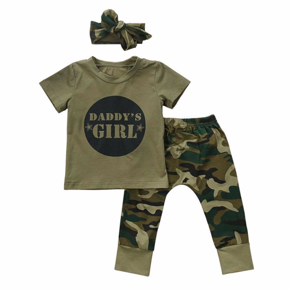 Baby Clothing Set 2018 Summer Newborn Toddler Baby Boy Girl Camo T-shirt Tops+ Pants Outfits Set Clothes 0-24M
